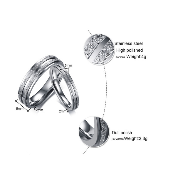 Silver Color Stainless Steel Couple Ring for Women / Men Double Row Frosted Rings Titanium Steel Jewelry