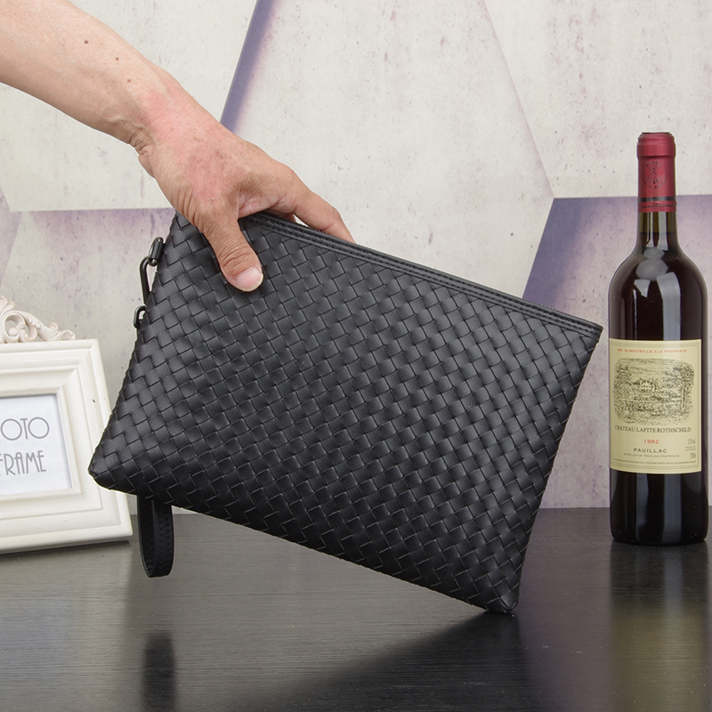 Kaisiludi leather woven men's bag hand bag Korean version of envelope  large capacity women hands  casual hand grab bag