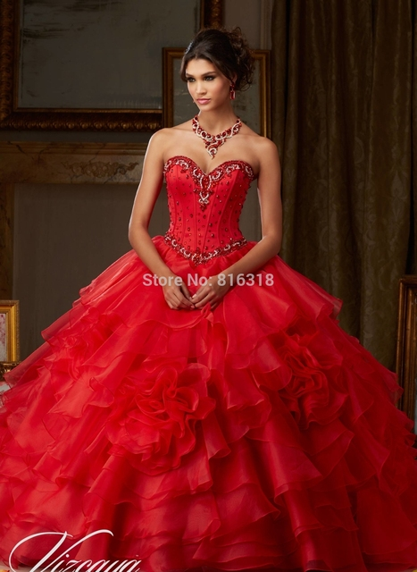 3937fb1af Vestidos Para Debutante Longo Red Quinceanera Dresses 2016 New Arrival  Beaded Dress 15 Years To Birthday