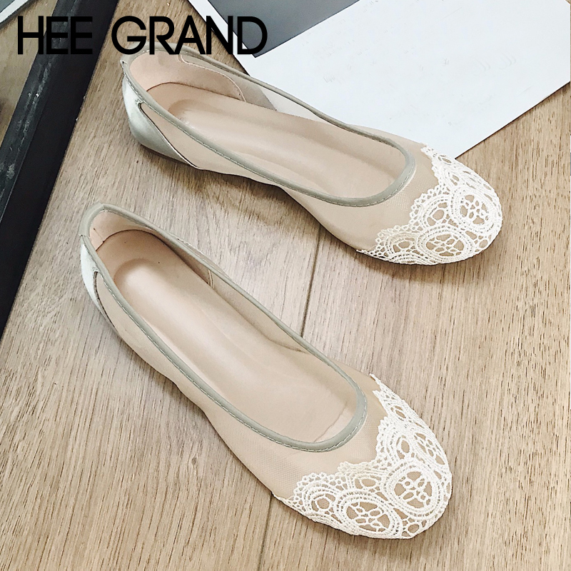 HEE GRAND Women Flats Flock Soft Loafers Shoes Woman Slip on Summer Round Toe Mesh Casual Shoes Woman Summer Flats XWD6740 hee grand breathable casual woman shoes air mesh candy color woman flats loafers comfortable slip on shoes size 35 40 xwc1181