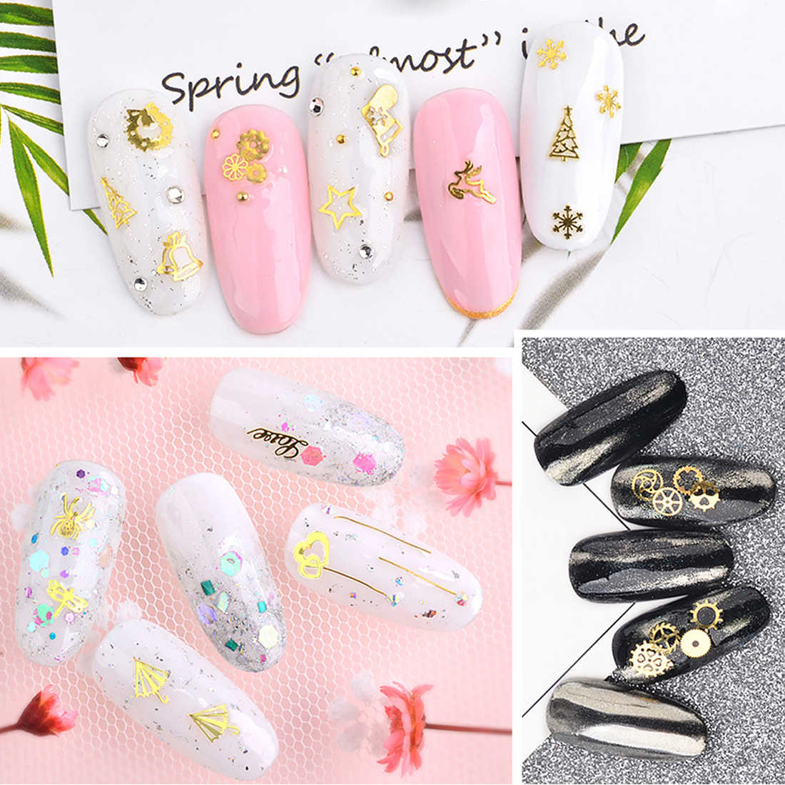 120 PCS Mixed Japanese Nail Art Jewelry Creative Hollow Metal Computer  Piece Christmas Sticker Leaf Gear Gold Super Thin Slice