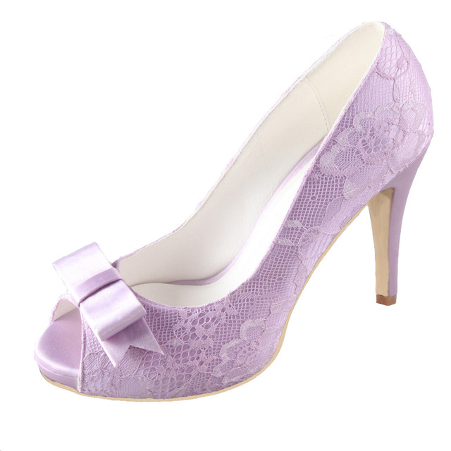 c1730cd6c6ca Creativesugar light purple lavender lilac lace sweet bow open toe woman shoes  bridal bridesmaid wedding prom pumps platform heel