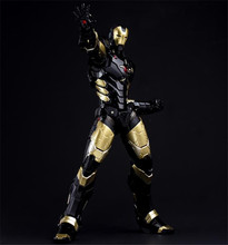 HC Iron Man Mark MK 42 BLACK x GOLD PVC Action Figure Collectible Model Toy with LED Light 28cm