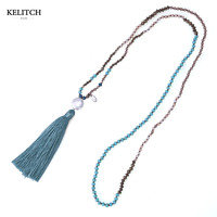 KELITCH Natural Pearl Crystal Beaded Necklace Handmade Long Tassels Pendants New Fashion Charm Jewelry
