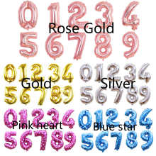 16 inch rose Gold silver gold pink blue big size Number Foil Helium Balloons Birthday Party Celebration decoration large globe