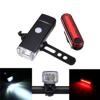New Arrival USB Rechargeable 5W LED Bicycle Front Headlight COB LED Bike Tail Rear Light Set