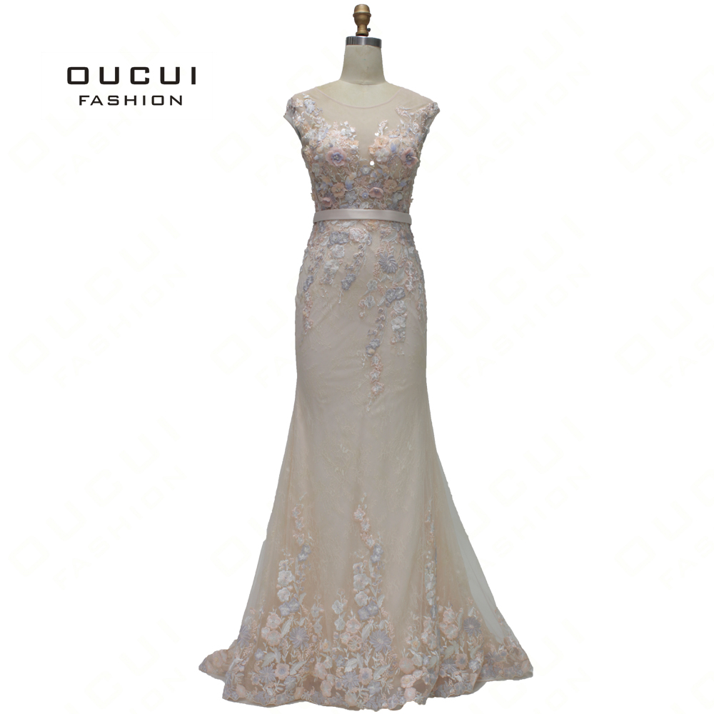 Oucui 2019 Newest Beige Lace Eveving   Dress   Elegant For Party Mermaid Gowns 3D Flowers Appliques Long   Prom     Dresses   OL103355