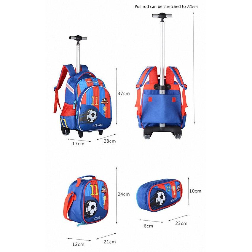 JASMINESTAR 3 pièces sac à roulettes pour fille Grade 1-3-6 papillon sac Trolley + porte-crayon + sac à bandoulière enfants sac à dos cartables - 4
