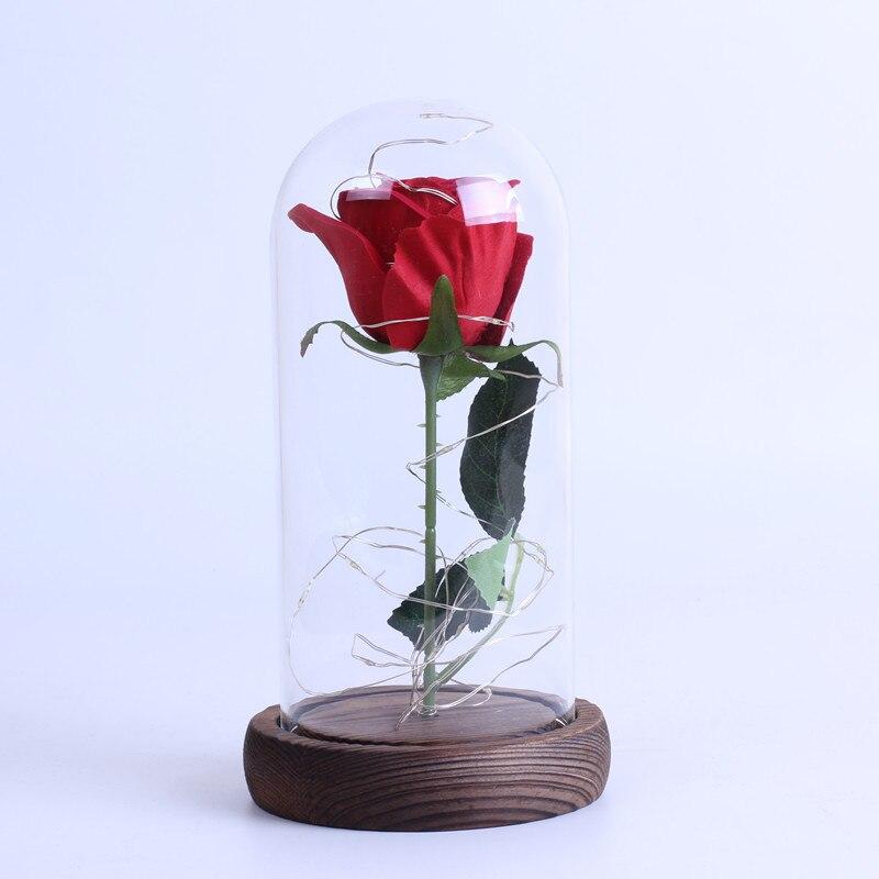 2019 La Belle Et La Bête Rose Rouge Dans Un Dôme En Verre Avec Base En Bois Lumière Led Pour La Saint-valentin Cadeaux De Fête Des Mères Cadeau D'anniversaire Le Prix Reste Stable