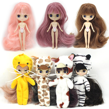 Petite Blythe Doll Nude Factory Mini Blythe Interactive Eyes Long Hair Free Gift