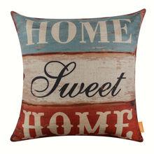 Linkwell funda de almohada cubierta del amortiguador de arpillera 18 x 18 pulgadas Retro mirada de madera Home Sweet Home palabras del monograma Shabby Chic estilo Retro