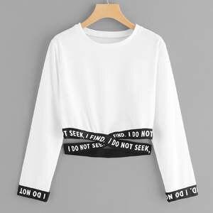 2019 Nouelle Femmes Zip Rond Collar Couleur Uni T-Shirt Blouse Dentelle Crop Top