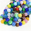 Fashion Mexican opal jasper smooth round multicolor cat eyes loose beads 4,6,8,10,12mm high grade jewelry making 14inch B1574