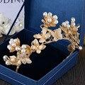 Chegada nova Luxuoso cristal Beleza Princesa Tiara cocar Nobre pérola Diadema para Coroa de Noiva acessórios Do cabelo do Casamento do ouro