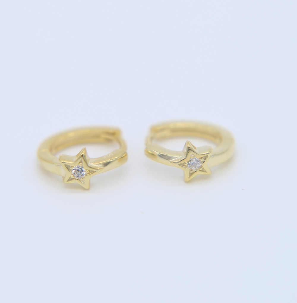 40e07463a7dd9 2019 S925 Gold Color hoop earringS with five pointed star Flower design  Small Hoop Earrings fine Jewelry For Women wedding giftS