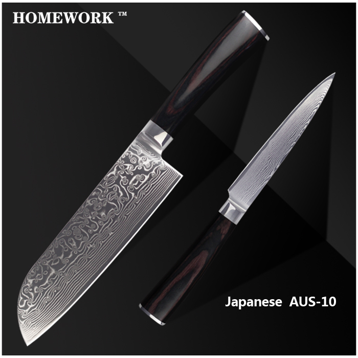 """XYJ brand damascus pattern knives 7 inch santoku 5"""" utility knife AUS-10 Damascus steel kitchen knives cooking tools set knives"""