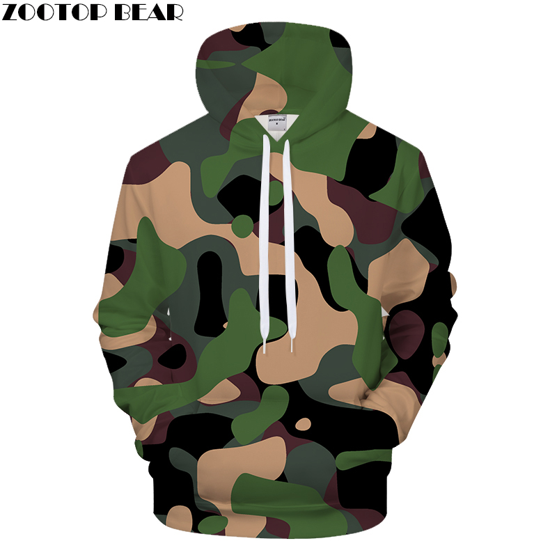 Men's hoodies with loose camouflage print prints in Europe and America, casual hoodies in 3d printing and hoodies in hip-hop