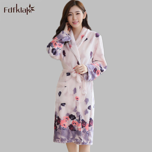 811d56f9d1 Autumn Long Sleeve Home Wear Dresses Flannel Warm Winter Bathrobes For  Women Robes Sleepwear Thick Warm Dressing Gown E0625-in Robes from Women s  Clothing   ...