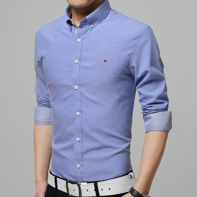 Men Cotton Shirt 2016 Autumn New Brand Clothing Fashion Boy Business Dress Long sleeve Shirts Chest Print camisa masculina