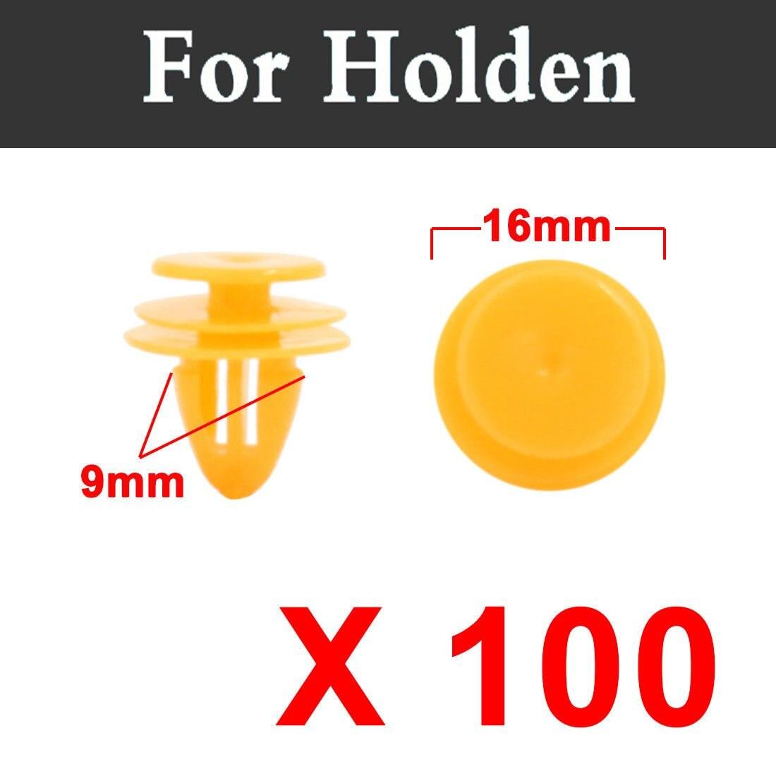 100 шт. 16 мм желтый автомобиль Застежка заклепки внутренняя отделка Панель Зажимы винт для Holden barina Кале Commodore Cruze Monaro государственный
