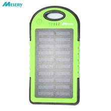 Melery Solar Charger 5000mAh Portable Solar Power Bank Waterproof Shockproof Dustproof Dual USB Battery Bank  for IPhone Samsung