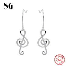 SG authentic 925 sterling silver musical note drop earrings fashion wedding  jewelry making for women gifts