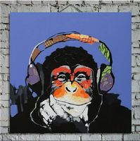 Frameless Decorative Canvas Painting Wall Picture Orangutan Wearing Earphone Modern Abstract Handmade Animal Oil Painting