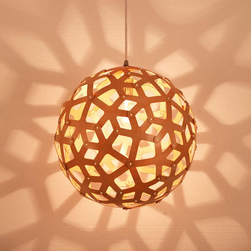 Nordic Vintage DIY woven E27 LED Wood Pendant Lights creative Round ball hanging lamp dining living