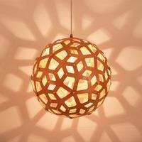 Nordic Vintage DIY woven E27 LED Wood Pendant Lights creative Round ball hanging lamp dining living room Cafe pendant lamp