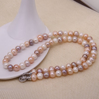 Thomas White Zircon Circle Clasp 3 Color Freshwater Pearl Necklace , European Fine Jewelry for Women