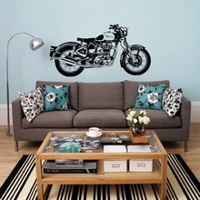 Free shiping Wall Decal Royal Enfield Motorbike Art Sticker Classic English Motorcycle  for room decoration
