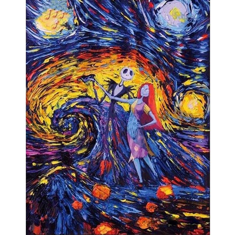 5D алмазная картина Хэллоуин Джек Скеллингтон головоломка, вышивка крестом, алмазная вышивка мозаика Вышивка крестом Хэллоуин украшение