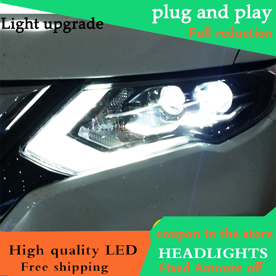 Car Styling for Nissan X Trail Headlights 2017 Nissan X Trail LED Headlight DRL Lens Headlamp