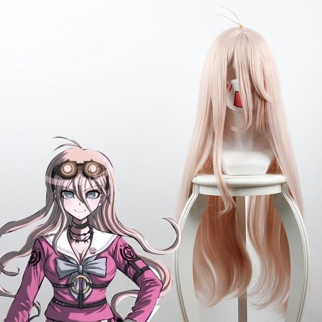 Danganronpa V3: Killing Harmony Iruma Miu Cosplay Costume Long Straight Light Pink Synthetic Hair Women Girls' Party Hair