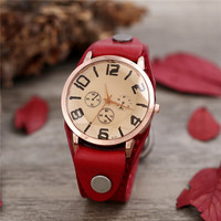 Women Casual Vintage Watch Faux Chronograph Plated Big Number Red Leather Hand Clock Lady Watches For Woman Reloj De Mujer