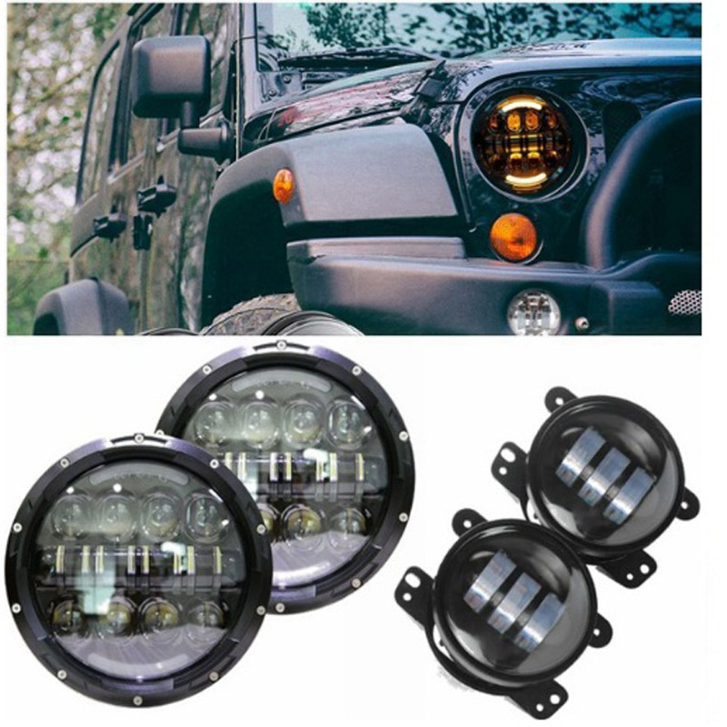 Pair 7 inch 80W Round Daymaker LED Headlights White DRL Yellow Turn signal With 4 Inch Fog lights For Jeep Wrangler TJ JK 7 inch 80w round led headlights high