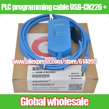 PLC kabel do programowania USB-CN226 + dla Omron USB do RS232 na białym tle dla OMRON CS CJ CQM1H CPM2C elektroniczne systemy danych tanie i dobre opinie Nzluliyuan