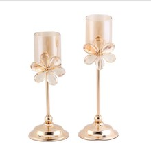 Crystal Candlestick Wedding Wrought Iron Candle Plating Crafts Home Decoration High-end Candlelight Dinner Supplies