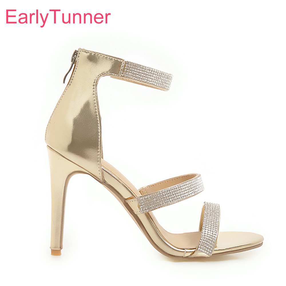Brand New Hot Summer <font><b>Sexy</b></font> Gold White Women Wedding Sandals Lady Party Shoes Studded Gladiator Heels EH851 Plus Big Size <font><b>10</b></font> 43 image