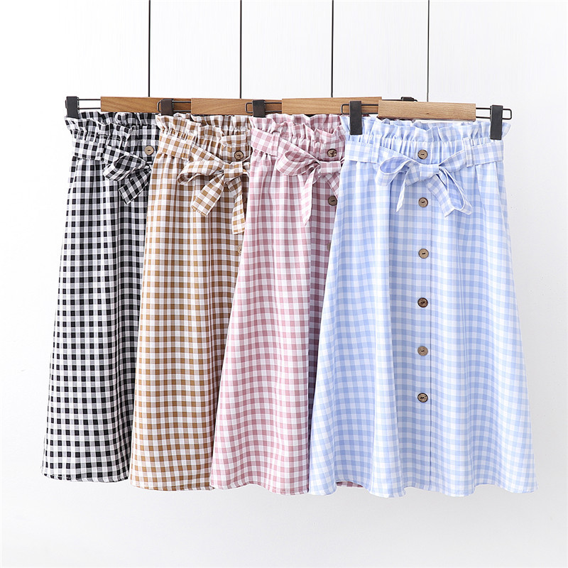 Korean Slim Fashion Plaid Skirt Women For Summer 2019 Slim Lace Up Bow Midi Women Skirt Female Autumn Faldas Largas De Fiesta
