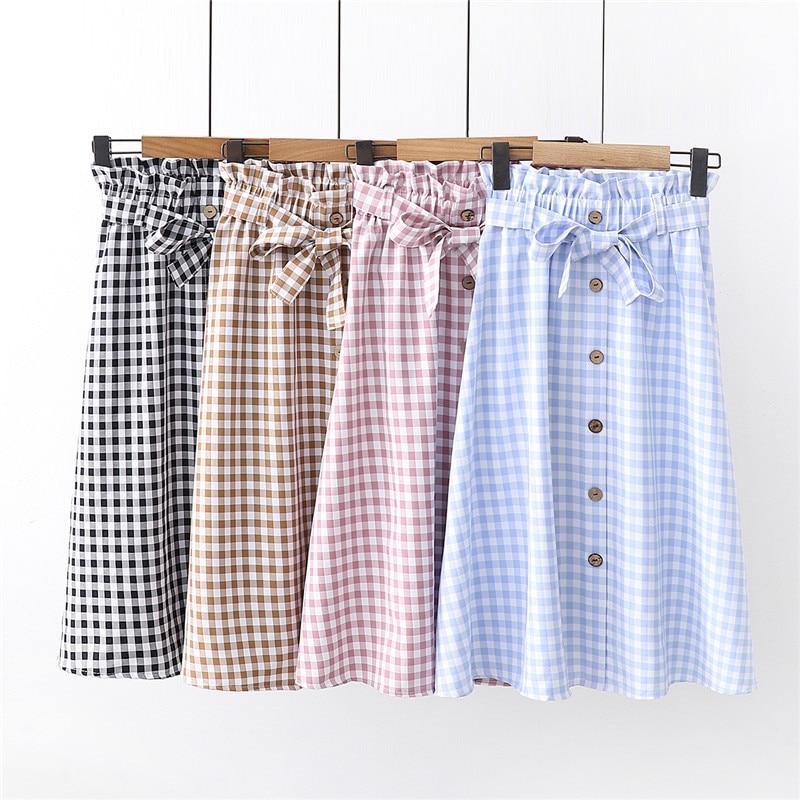 Korean Slim Fashion Plaid Skirt Women For Summer 2019 Slim Lace Up Bow Midi Women Skirt Female Autumn Faldas Largas De Fiesta