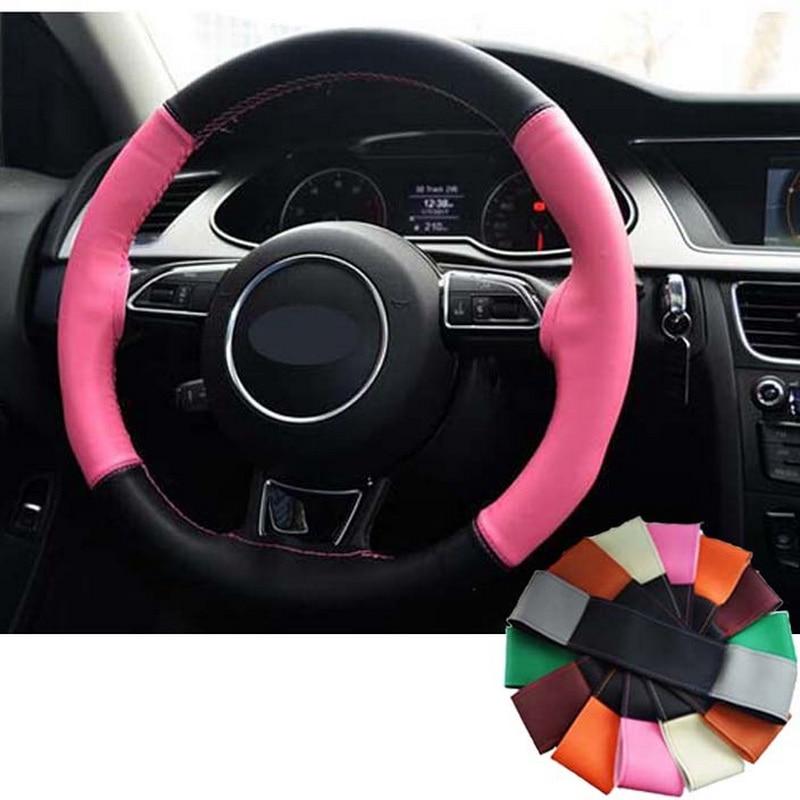 niña Funda de cuero trenzada colorida en el volante de la funda de - Accesorios de interior de coche