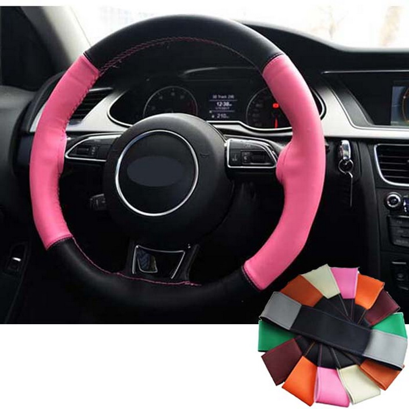 girl Colourful Braided leather cover on the steering wheel of the car braid case covers at the steering-wheel 38 cm