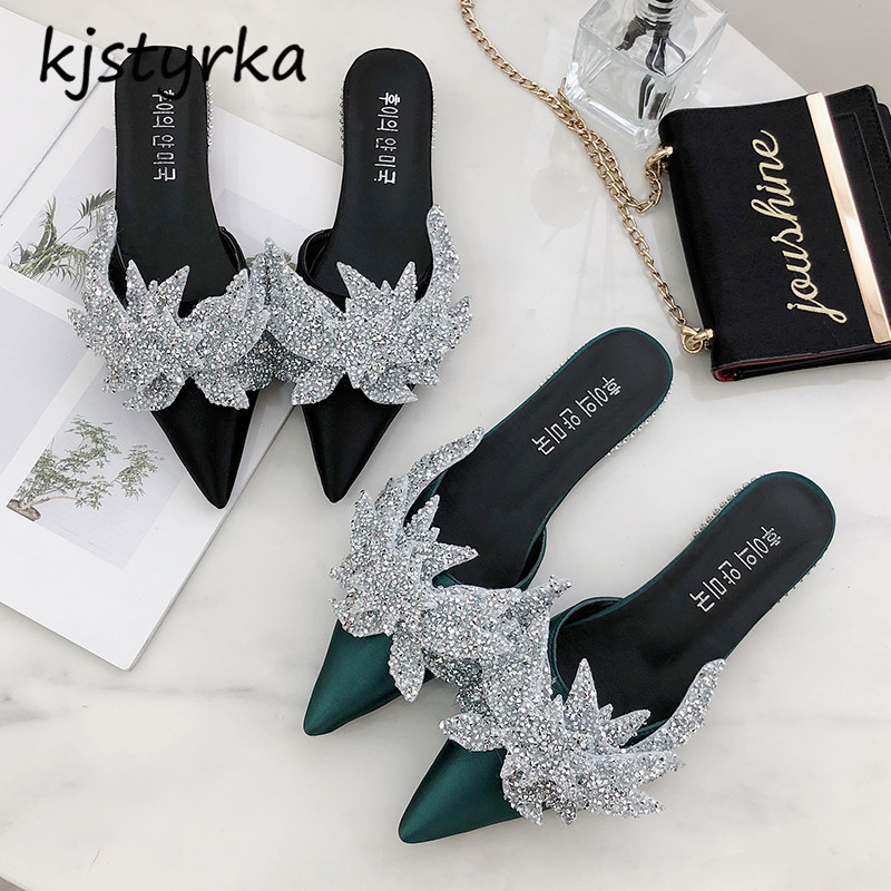 Kjstyrka 2018 Brand designer women mules ladies fashion crystal glitter flats loafers <font><b>shoes</b></font> <font><b>Sharp</b></font> head slides zapatos mujer