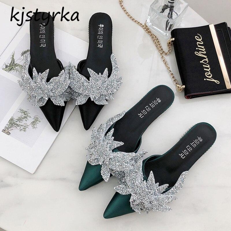 Kjstyrka 2018 Brand designer women mules ladies fashion crystal glitter flats loafers shoes Sharp head slides zapatos mujer все цены