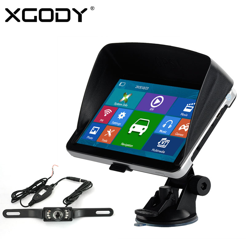 Xgody 704 7 inch 4GB Bluetooth Car Truck GPS Navigation with Wireless Backup Rearview Camera AV-IN Free Sunshade 2016 Europe Map aw715 7 0 inch resistive screen mt3351 128mb 4gb car gps navigation fm ebook multimedia bluetooth av europe map