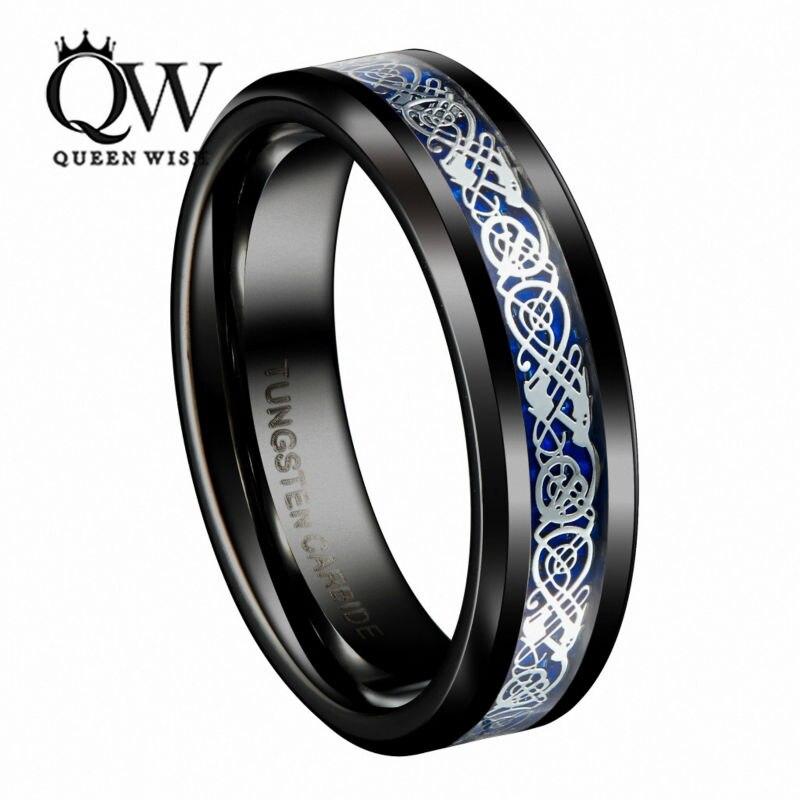 Queenwish Mens Jewelry Black Slivering Celtic Knot Tungsten