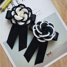 CX-Shirling 7cm Diameter Fabrc Camellia Flower Brooch Black White Fabric  Ribbon Bowknot Brooches Female