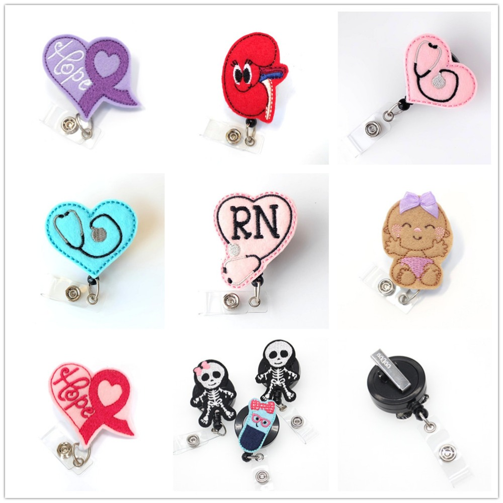 100 pieces/lot free shipping Multi styles retractable nurse ID badge card reel felt /medical badge holder
