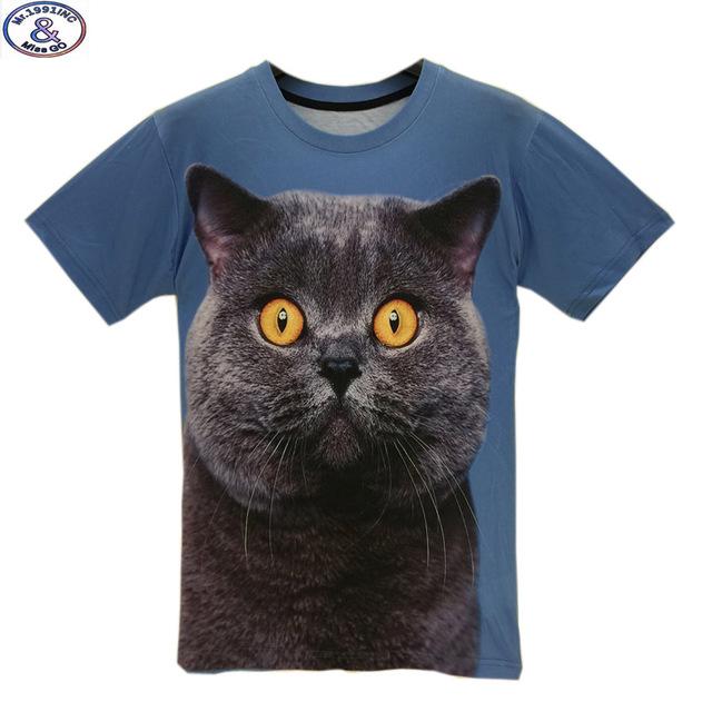 Mr.1991 marca niños camiseta para niño o niñas Big fat cat impreso 3D camiseta adolescentes hip-hop tops tee niños grandes 11-20 años A29